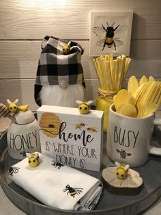Our Beehive decor offers a collection of beehive kitchen decor and bee kitchen items. Beehive decor for your home kitchen and wall decor bee art. Lemon Kitchen Decor, Kitchen Decor Themes, Kitchen Dishes, Home Decor, Yellow Kitchen Decor, Kitchen Nook, Honey Bee Home, Honey Bees, Seasonal Decor