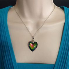 Glass Heart Necklace Multi-Color