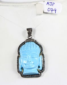 Buddha design Pendant with carved Turquoise and Pave Diamonds   #pendant#Buddha design#carved#turquoise#gemstone#diamondbail#oxidized#.925sterlingsilver