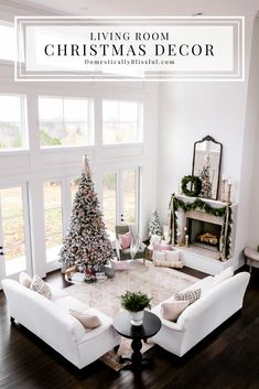 Home Decor Videos A tour of our living room Christmas decor in our new home. Living Room White, White Rooms, Joanna Gaines, Living Room Furniture, Living Room Decor, Living Rooms, Pink Christmas Decorations, Tall Ceilings, Christmas Home