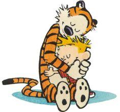 Calvin and Hobbes hug