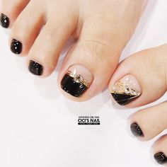 Ideas For Pedicure Designs Sparkle Black Nails Pretty Toe Nails, Cute Toe Nails, Pretty Toes, Toe Nail Color, Toe Nail Art, Pedicure Nail Art, Pedicure Ideas, Summer Pedicure Designs, Glitter Pedicure