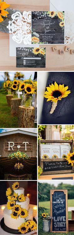 Rustic sunflower wedding ideas and invitations.#weddingideas#weddingcolors#sunflowers#elegantweddinginvites