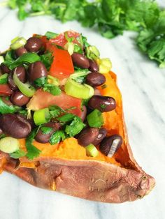 Naturally vegan and gluten free, you won& miss the meat in these protein-packed Black Bean Salsa Stuffed Sweet Potatoes bursting with southwest flavors. Vegan Vegetarian, Vegetarian Recipes, Cooking Recipes, Healthy Recipes, Free Recipes, Healthy Meals, Pasta Recipes, Healthy Food, Black Bean Salsa