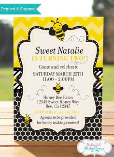 Bumble Bee Invitation / Honey Bee invitation / Bee Birthday Party #beeinvitation