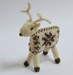 With this cute knitted Reindeer kit you are sure to hear those sleigh bells ringing for Christmas! This Reindeer may not be a British native animal but he is knitted from pure British wool. The yarn is gorgeous naturally coloured Shetland yarn fro. Knitting Kits, Knitting Projects, Knitting Patterns, Crochet Patterns, Woodland Christmas, Christmas Crafts, Christmas Ornaments, Christmas Tree, Crochet Toys