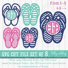 Monogram SVG Flip Flop Set includes 8 cutting files by LillyAshley