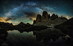 """Dead of the night - We only had 1 hour of a rather clear sky at night at the Dolomites in 4 whole days in mid June (!). You have to work fast and it´s quite a torture waiting between every 30 sec exposure, when you watch the clouds moving in over you.  Nevertheless I want to show you the result of my """"single-hour-starscape-photography"""" at the famous Tre Cime di Lavarado.  Please view on black if you are a kind person!"""