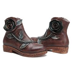 SOCOFY Sooo Comfy Vintage Handmade Rose Ankle Leather Boots  women shoes fashion