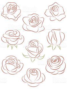 Set of roses. Set of roses. Royalty free set of roses vector illustration stock vector art and more images of abstract - Art Floral, Drawing Techniques, Free Vector Art, Vector Graphics, Mehndi Designs, Doodle Art, Rose Doodle, Easy Drawings, Images Of Drawings