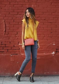 sincerely jules - mustard top, grey skinnies, red bag & cut out heels