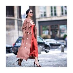 LADY IN RED: Our #PFW style ambassador sizzles in this season's easy tailoring pieces. Elevate the sultry slip dress with suede sandals and gold jewelry as styled by @garypeppergirl today.