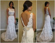 Dress, lace, backless, sweetheart neckline with see-thru lace by lucia