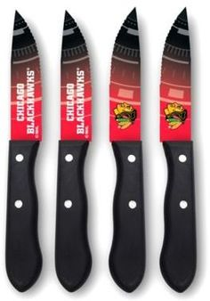 d4594e59564 NHL Chicago Blackhawks 4-Piece Stainless Steel Steak Knife Set Nhl Chicago