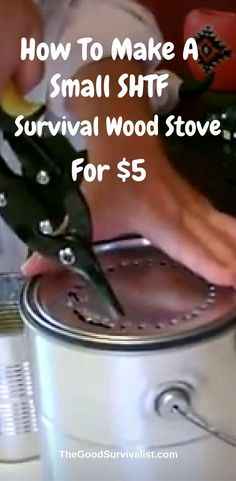 This DIY Tin Can Wood Stove is made using only 2 cans! No special tools required. Easy DIY. Cost $5.00. only fuel needed is twigs, leaves and small sticks.
