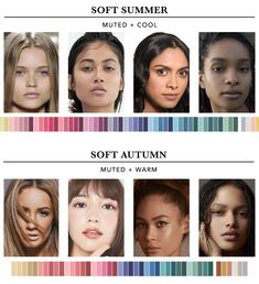 Find out which season you are in the twelve seasons colour analysis. This will help you determine the most harmonious colours for you. Soft Autumn Color Palette, Skin Color Palette, Soft Summer Palette, Cool Skin Tone, Seasonal Color Analysis, Dark Complexion, Cool Undertones, Light Eyes, Complimentary Colors