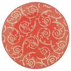 Pembrokeshire Round 6'7 Outdoor Patio Rug - Red / Natural - Safavieh, Red/Natural