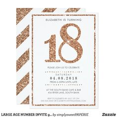Invitation GRANDS scintillement rose d'or du charme 18 Gold Wedding Invitations, Zazzle Invitations, Birthday Party Invitations, Birthday Ideas For Her, Girl Birthday, 21st Birthday, Debut Invitation, Invitation Design, 18th Debut Ideas