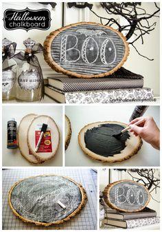 Halloween Wood Slice Chalkboard