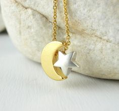 Gold Moon Silver Star Necklace. Dainty Gold Plated Chain. Simple Necklace. Minimalist Jewelry. Everyday Necklace. Delicate.
