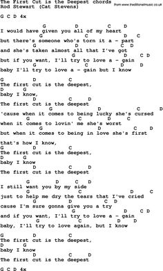 Song Lyrics with guitar chords for The First Cut Is The Deepest - Rod Stewart