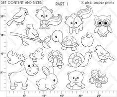 Forest Friends Digital stamps by pixelpaperprints on Etsy Felt Crafts, Paper Crafts, Diy Paper, Images Kawaii, Forest Friends, Baby Quilts, Embroidery Patterns, Ribbon Embroidery, Machine Embroidery