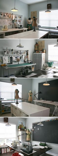 Ideas sewing studio organization fit for 2019 Sewing Room Design, Sewing Spaces, My Sewing Room, Sewing Studio, Sewing Rooms, Design Room, Studio Design, Design Studios, House Design