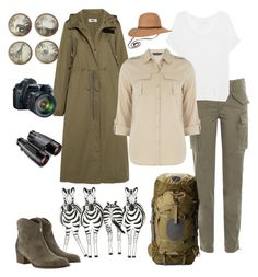 """safari tour"" by bsrabali ❤ liked on Polyvore featuring Polo Ralph Lauren, True Religion, MM6 Maison Margiela, Dorothy Perkins, Osprey, Eos and prAna"