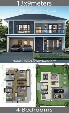 Home design plan with 4 bedrooms. Function space 4 Bedrooms, 4 Bathrooms, 1 Living Room, 1 Multi-purpose Room 2 Car-park (in-door) - 2 Storey House Design, Small House Design, Cool House Designs, Modern House Design, Design Home Plans, Home Building Design, Building A House, House Layout Plans, House Layouts