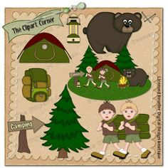 Camping Clipart Commercial Use Vector Graphics Digital Clip Art Images