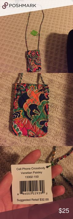 Vera Bradley cell phone cross body perfect condition!! in pattern venetian paisley. let me know if you want me to model this!:) Vera Bradley Bags Crossbody Bags