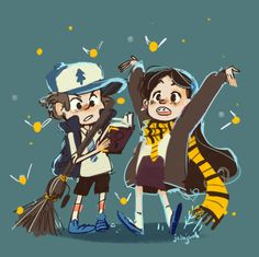 Dipper and mabel Hogwarts, Scooby Doo Mystery Incorporated, Gravity Falls Fan Art, Mabill, Mabel Pines, Reverse Falls, Fandom Crossover, Billdip, Cartoon Shows