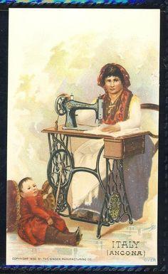 Italy Ancona Singer Sewing Machine Trade Card | eBay