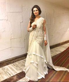 Image may contain: 1 person Drape Sarees, Saree Draping Styles, Saree Styles, Indian Dresses, Indian Outfits, Indian Attire, Western Outfits, Indian Wear, Saree Gown