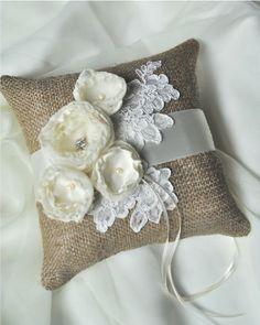burlap pillow for ring bearer @Kassie Alderson Alderson Miller