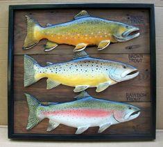 Brown, Brook, Rainbow trout 3-D folk art wood carvings in shadow box type frame.Hand painted original artwork. $160.00, via Etsy.