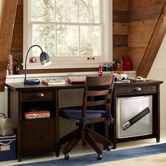 boys-study-space-attic. Two end tables with board across, DIY