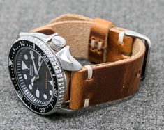 Leather Watch Strap: Black Horween Chromexcel