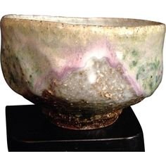 Japanese Hagi Ware Chawan/ Tea Bowl by Famous Seigan Yamane Purple and Green Glaze