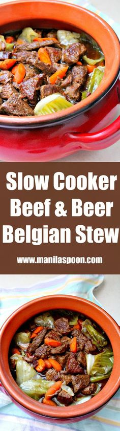 Beef chunks are steeped in Belgian beer in the slow cooker and results in a melt-in-your-mouth delicious stew! This is the best stew ever! | manilaspoon.com