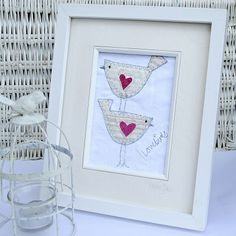 'Love Birds' Textile Wall Art : TillyandRose.co.uk