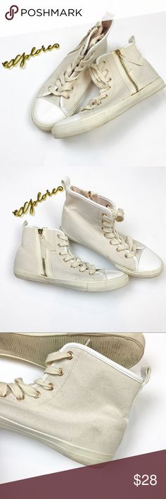 Aldo cream and rose gold high tops size 10 Aldo / size 40, US size 10  . Off white canvas high tops with rose gold eyelets and zippers. Very good condition - wear show in photos. Aldo Shoes Sneakers