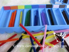 Color Sorting Sticks and Tray  This bag includes one tray with colored sections and colored sticks. Kids put the sticks in the correct color spot.  $5.25