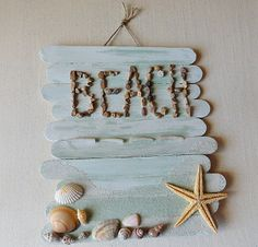 Beach Memory Board Sign - Large Lolly Sticks glued together, add your collection of treasures from the beach