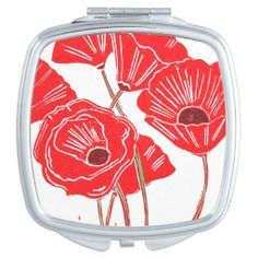 Poppies Compact Mirror; Abigail Davidson Art; ArtisanAbigail at Zazzle