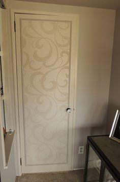 my bathroom door, I did it! Paintable Wallpaper, Textured Wallpaper, Textured Walls, Solid Doors, Bathroom Doors, Cool Tech, Full Bath, Home Improvement, House Design