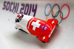 Fabienne Meyer and Tanja Mayer of Switzerland team 1 make a run during the Women's Bobsleigh heats (c) Getty Images Bobsleigh, Olympic Games, Switzerland, Olympics, Athlete, Sports, Over Knee Socks, Men, Sport