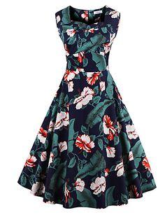 De las mujeres Corte Swing Vestido Tallas Grandes Vintage,Floral Escote Cuadrado Hasta la Rodilla Sin Mangas Azul / Rojo / Blanco / Negro 5031915 2016 – $15.99