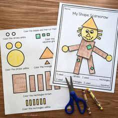 Arts And Crafts Ideas For Toddlers Product Shape Activities Kindergarten, 2d Shapes Activities, Autumn Activities, Kindergarten Classroom, Classroom Activities, Elementary Math, Kindergarten Centers, Classroom Ideas, Fall Preschool