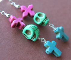 Day of the Dead Zombie Green Sugar skull Earrings by VivaGailBeads, $11.95